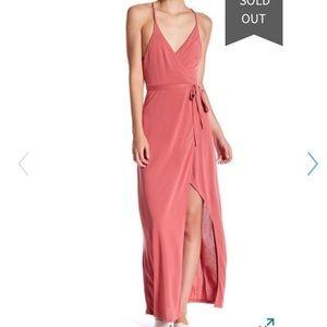 Lush Surplice Neck Wrap Maxi Dress
